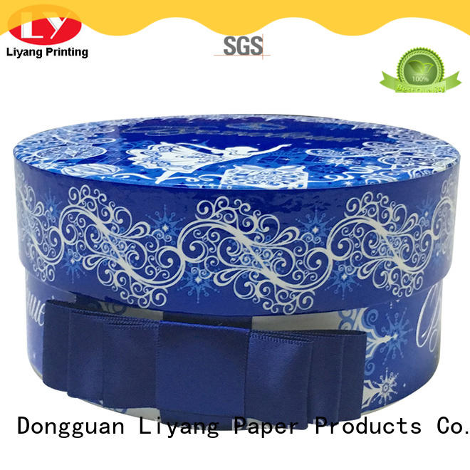 Liyang Paper Packaging custom design round cardboard boxes at discount for christmas