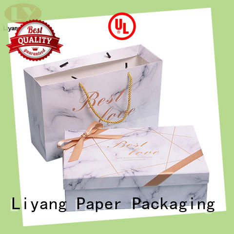 Custom Printed White Marble Design Paper Gift Box with Bow