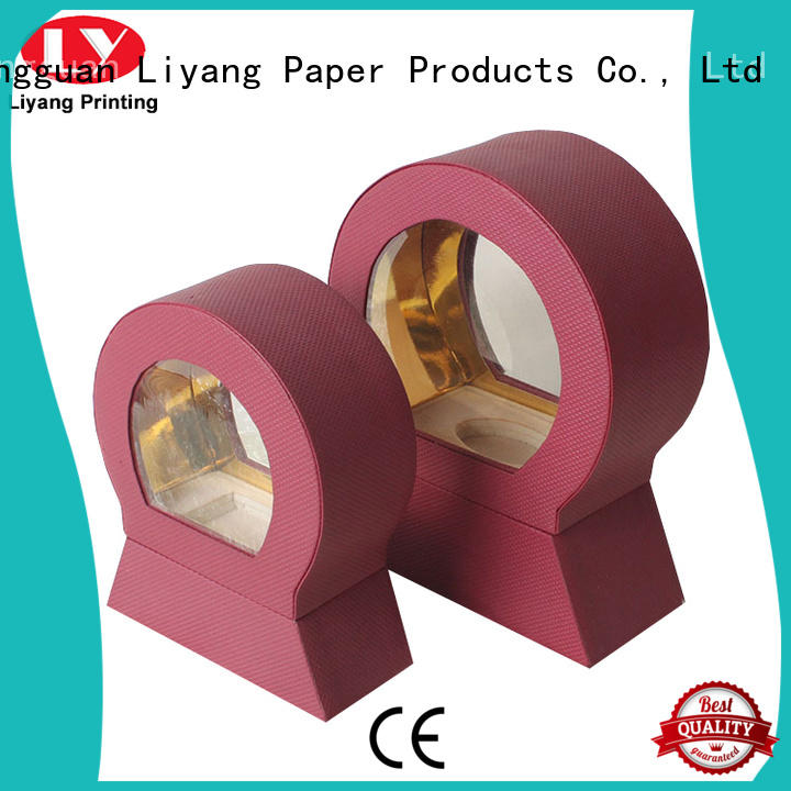 Liyang Paper Packaging purple cosmetic gift packaging clear window for brush